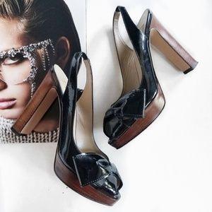 Valentino Garavani Side Bow Patent Peep Heels 37